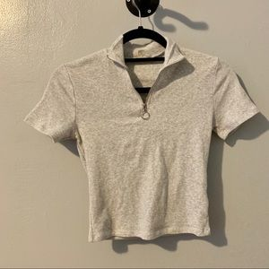 Garage Half Zip Mock Neck Tee